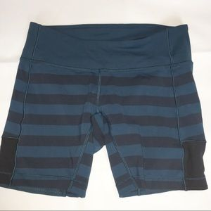 Lululemon spinnerette shorts teal stripe 8